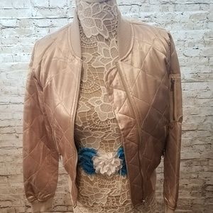 TopShop Quilted Bomber Jacket in Champagne